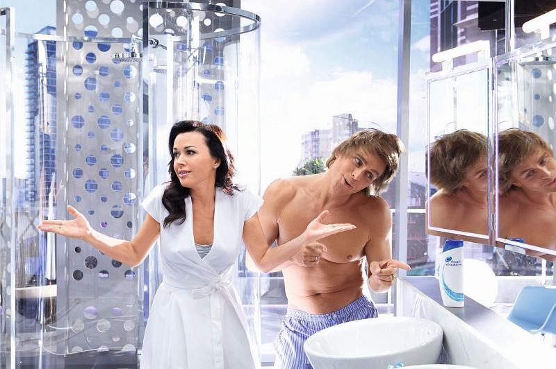 Анастасия Заворотнюк и Петр Чернышев на съемках рекламы